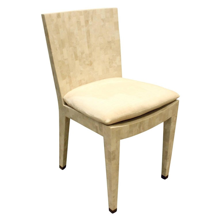 """Karl Springer """"JMF Chair"""" in Tessellated Fossil Stone, 1970s For Sale"""