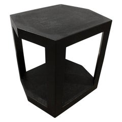 Karl Springer Hexagonal Side Table in Embossed Reptile, 1986 Signed