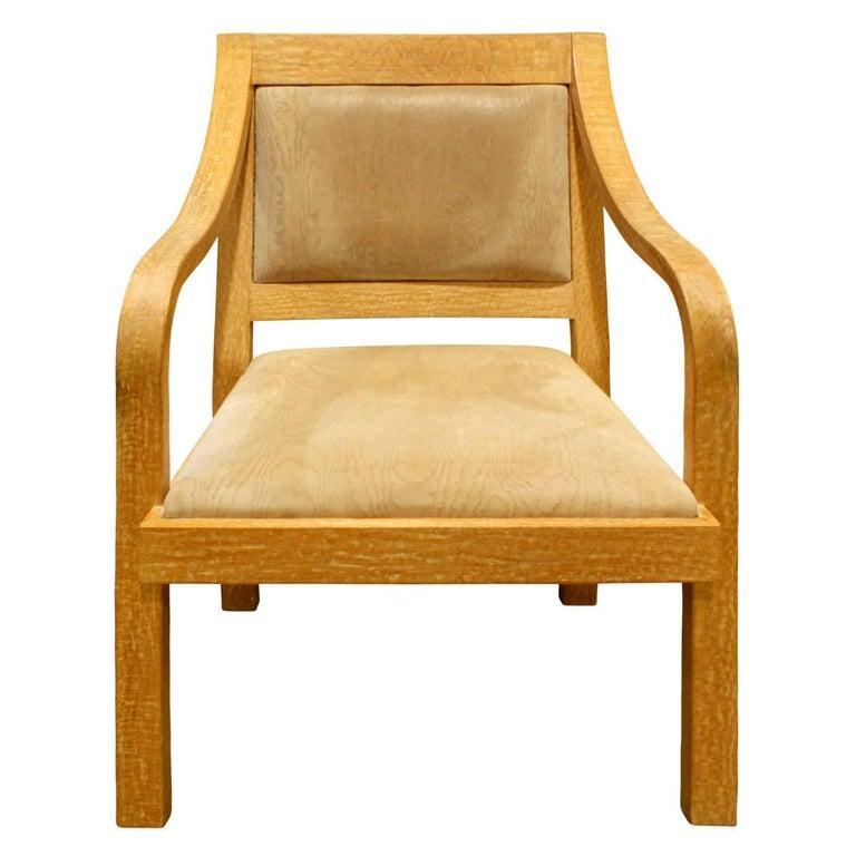 """Karl Springer """"Regency Arm Chair"""" in Cerused Oak, 1970s"""