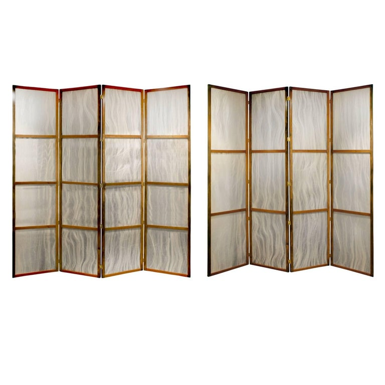 Pair of Tall Screens with Inset Horse Hair Panels, 1960s