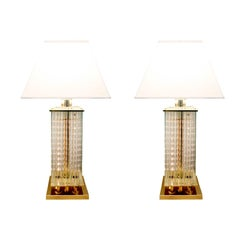 Sciolari Chic Pair of Table Lamps with Suspended Glass Rods, 1970s