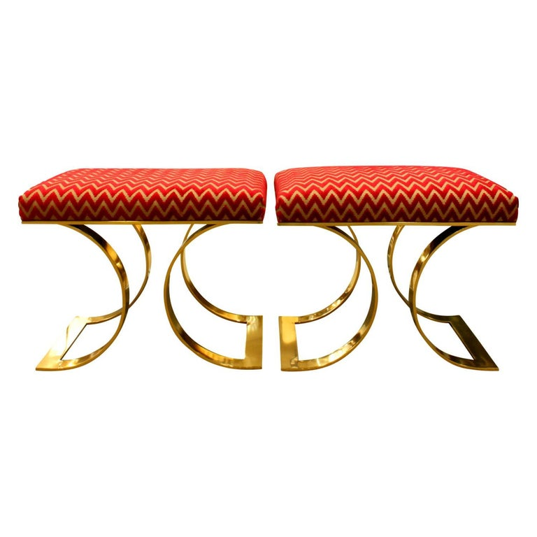 """Pair of """"JMF Benches"""" in brass with newly upholstered seats by Karl Springer, American, 1970s."""