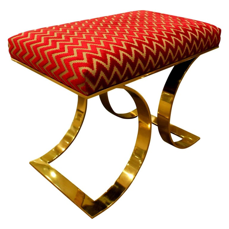 American Karl Springer Chic Pair of JMF Benches in Brass, 1970s For Sale