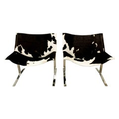 Chic Pair of Sling Chairs in Steel with Cow Hides, 1963