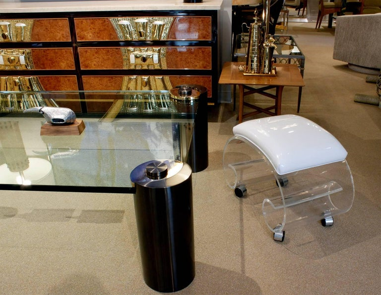 Hand-Crafted Rolling Scrolled Lucite Bench, 1970s For Sale