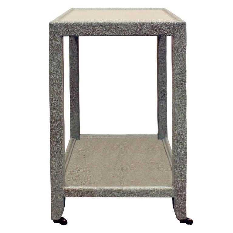 """Karl Springer """"Telephone Table"""" in Embossed Shagreen 1980s"""