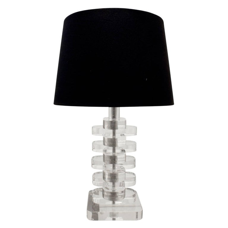 Small Stacked Lucite Table Lamp, 1970s