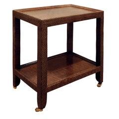 "Karl Springer ""Telephone Table"" Covered in Python Skin 1991, signed"