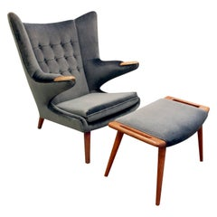 "Hans J. Wegner ""Papa Bear Chair"" with Footrest, 1950s 'Signed'"