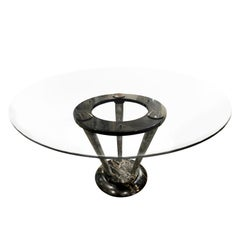 Sculptural Italian Dining Table in Figured Black Marble with Glass Top, 1970s
