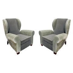 Pair of Large Sculptural French Wing Chairs, 1930s