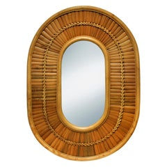Large Artisan Racetrack Mirror in Rattan and Bamboo, 1970s