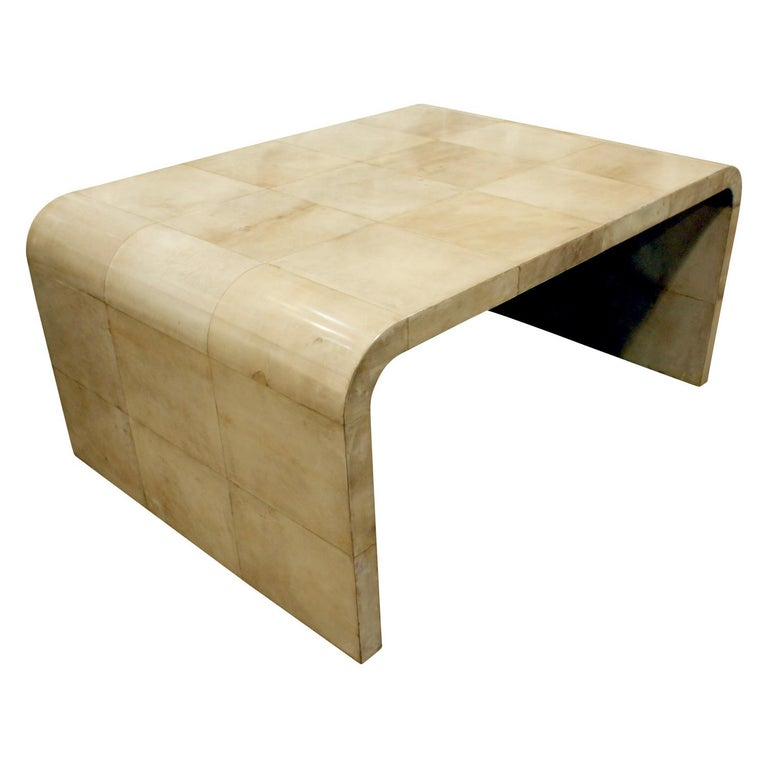 American Karl Springer Waterfall Coffee Table in Lacquered Goatskin, 1970s For Sale