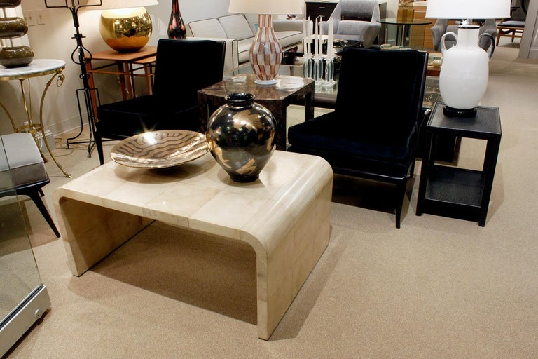 Karl Springer Waterfall Coffee Table in Lacquered Goatskin, 1970s For Sale 1