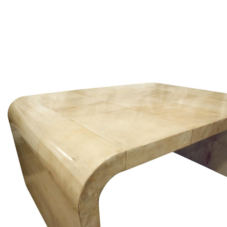 Karl Springer Waterfall Coffee Table in Lacquered Goatskin, 1970s In Excellent Condition For Sale In New York, NY