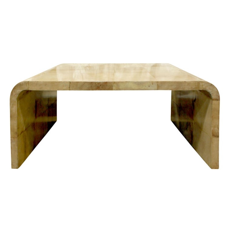 Mid-Century Modern Karl Springer Waterfall Coffee Table in Lacquered Goatskin, 1970s For Sale