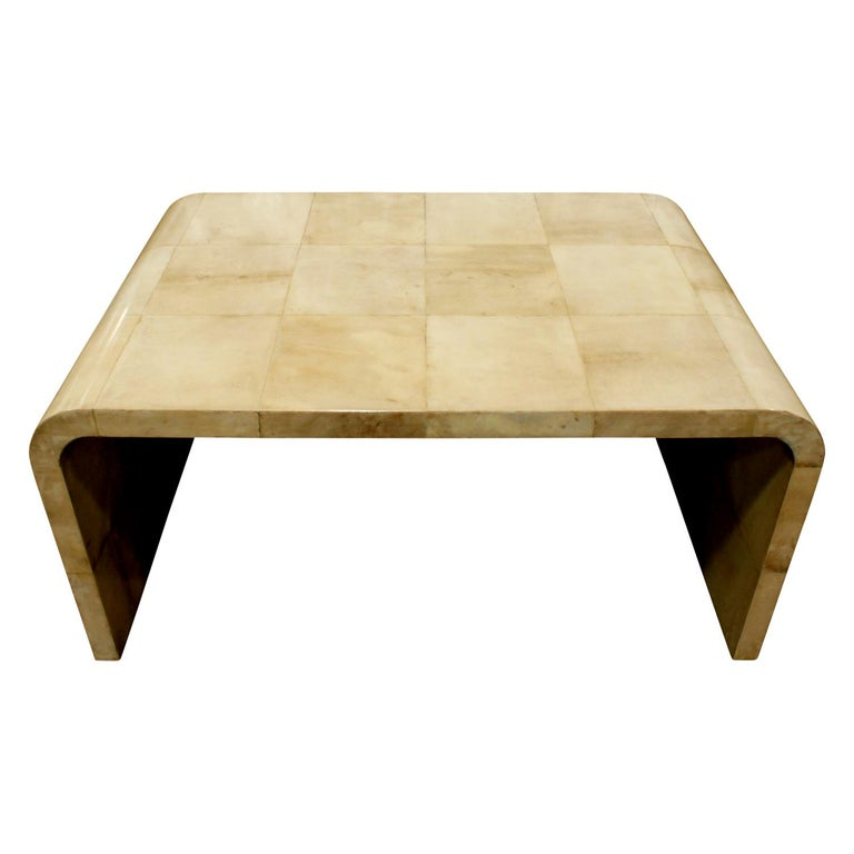 Karl Springer Waterfall Coffee Table in Lacquered Goatskin, 1970s For Sale