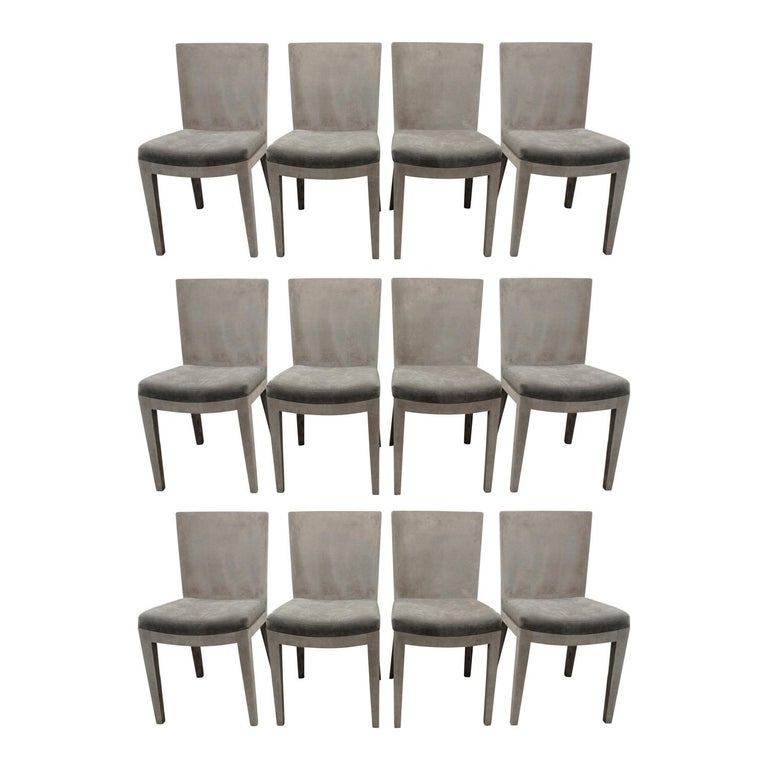 Karl Springer Set of 12 JMF Dining Chairs, 1970s