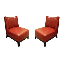 Christian Liaigre Pair of Elegant Red Leather Slipper Chairs 2000s 'Signed'