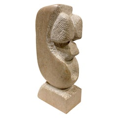 "Naomi Feinberg ""Mask"" Sculpture in Pink Marble 1970s"