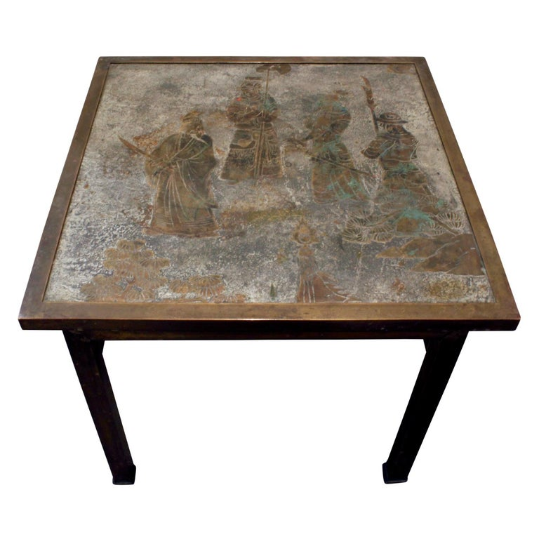 """Philip & Kelvin Laverne Table, """"Ming #131"""", in Pewter and Bronze, 1960s 'Signed' For Sale"""