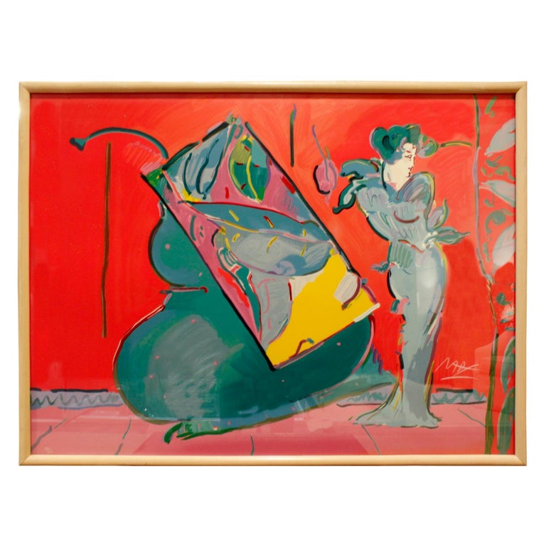 """Peter Max """"Lady on Red with Floating Vase"""" 'Signed and Numbered' For Sale"""
