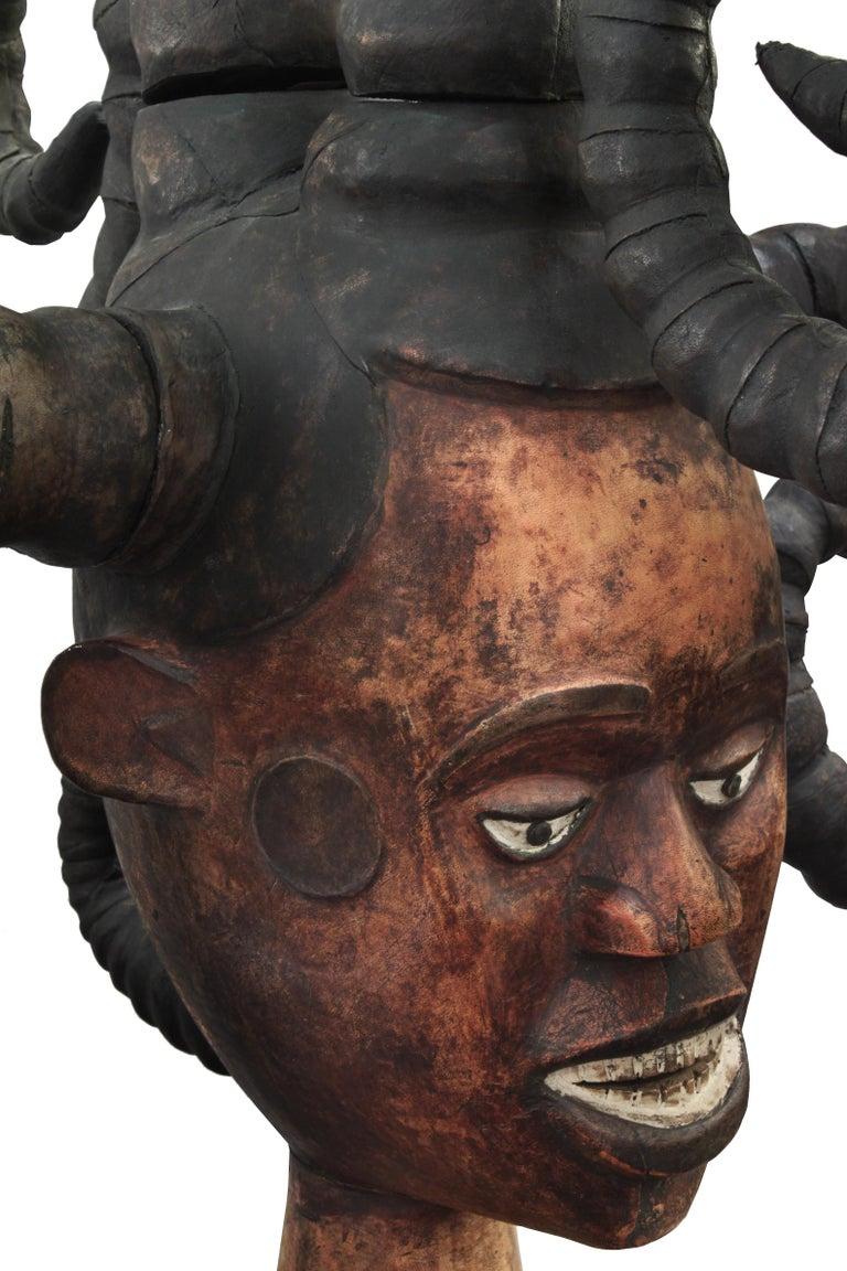 American Karl Springer Hand-Carved African Sculpture on Custom Suede Base, 1980s For Sale