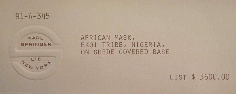 Karl Springer Hand-Carved African Sculpture on Custom Suede Base, 1980s For Sale 1