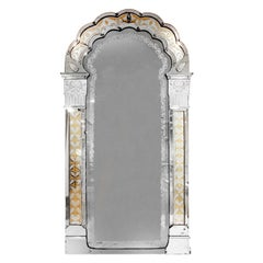Monumental Venetian Wall Hanging Mirror with Etched Design, 19th century