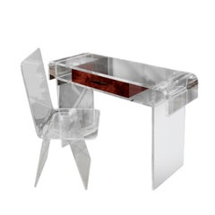 Custom Lucite Desk or Vanity with Tortishell Lucite Drawer and Chair, 1970s
