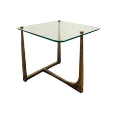 Artisan End Table in Hammered Bronze with Custom Glass Top, 1970s