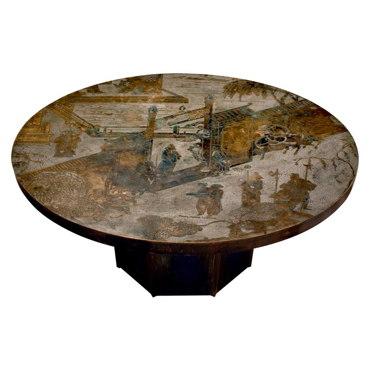 """Philip & Kelvin Laverne """"Chan #142 Coffee Table"""", 1960s 'Signed' For Sale"""