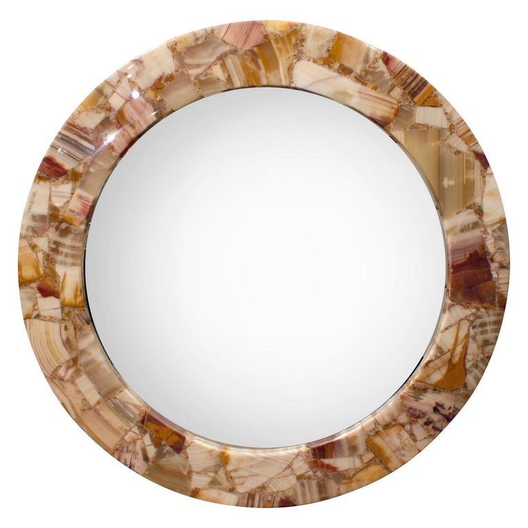 Arturo Pani Exceptional Studio Made Mirror with Onyx Frame, 1960s 'Signed' For Sale