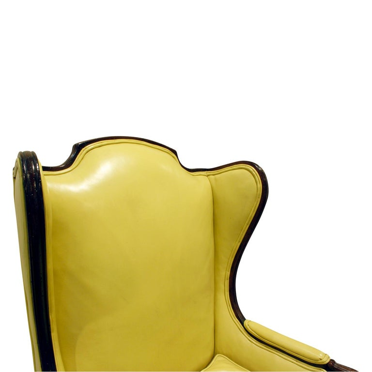 Faux Leather Custom-Made Regency Style Wing Chair, 1950s, Signed For Sale