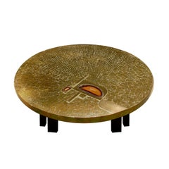 Jean Claude Dresse Exceptional Coffee Table in Gilt Brass with Red Agate, 1980s