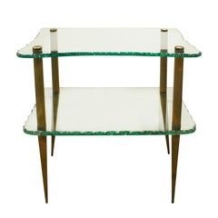 Studio Made Beautiful 2-Tier Console Table in Hand Chipped Glass, 1950s