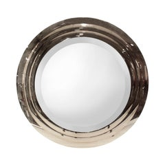 Sally Sirkin Lewis Bronze Glass Concentrically Beveled Wall Hanging Mirror