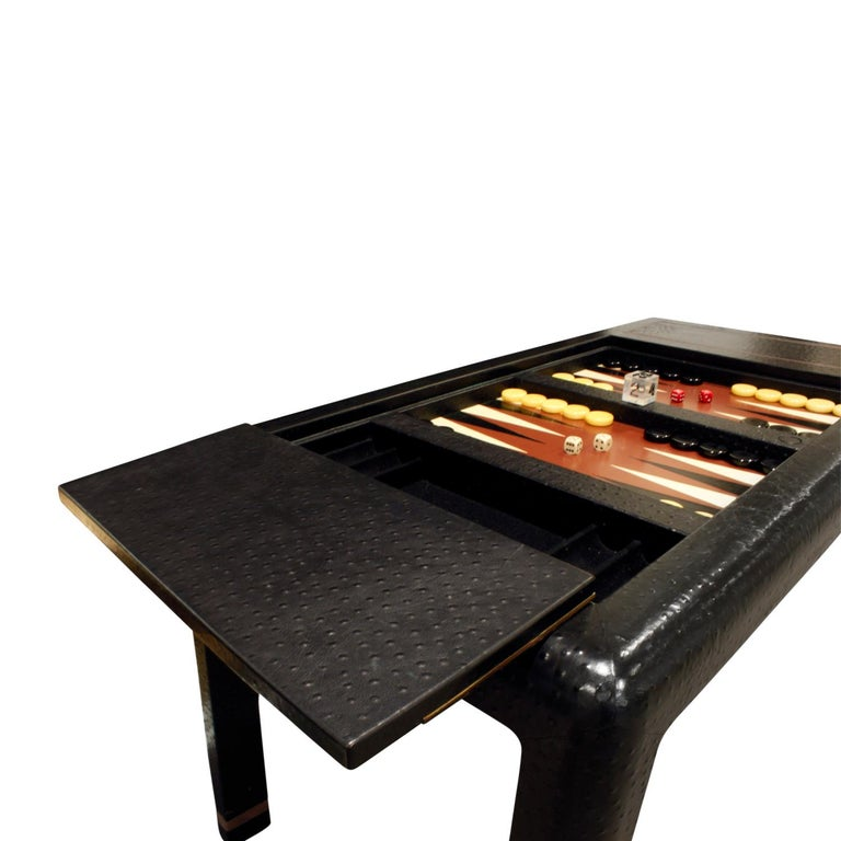 Metal Karl Springer Backgammon Table with Folding Chairs in Ostrich, 1970s, 'Signed' For Sale