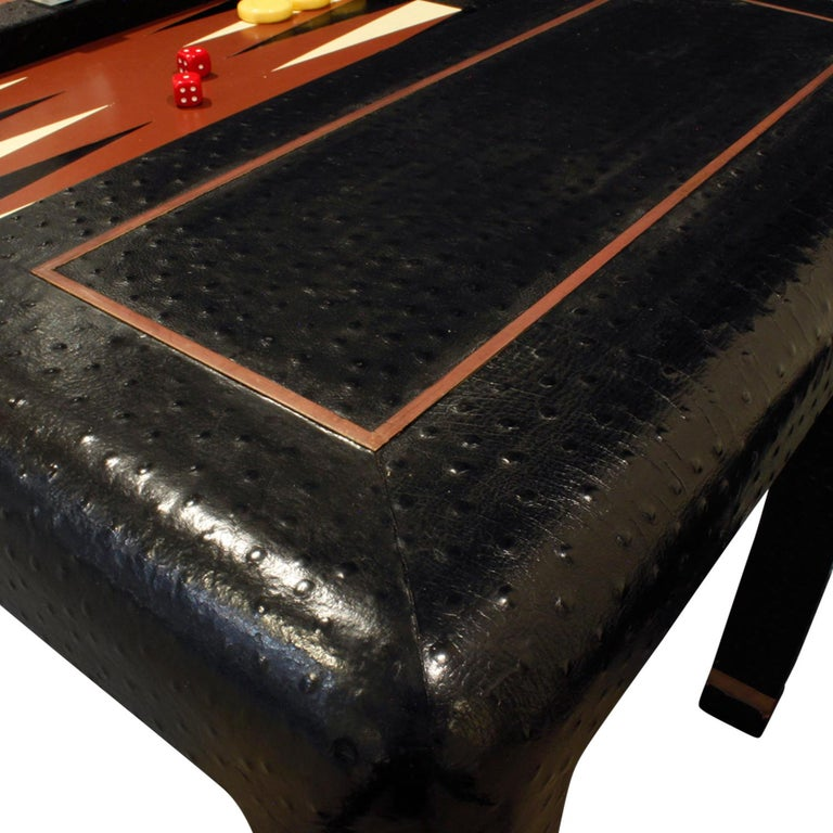 Karl Springer Backgammon Table with Folding Chairs in Ostrich, 1970s, 'Signed' For Sale 1