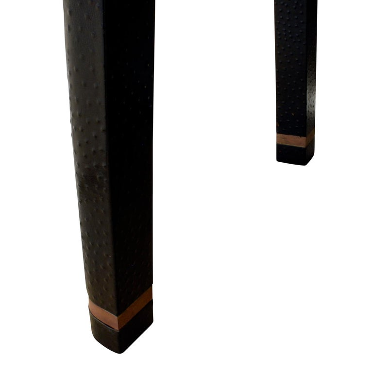 Karl Springer Backgammon Table with Folding Chairs in Ostrich, 1970s, 'Signed' For Sale 2