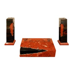 Karl Springer Hinged Box and Matching Candleholders in Red Jasper, 1980s