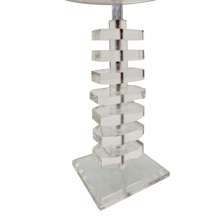 Hand-Crafted Pair of Sculptural Stacked Lucite Table Lamps, 1970s For Sale
