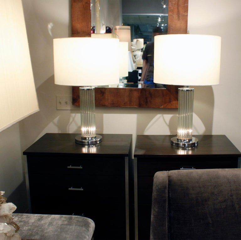 Hand-Crafted Pair of Chic Internally Illuminating Table Lamps with Glass Rods, 1970s For Sale