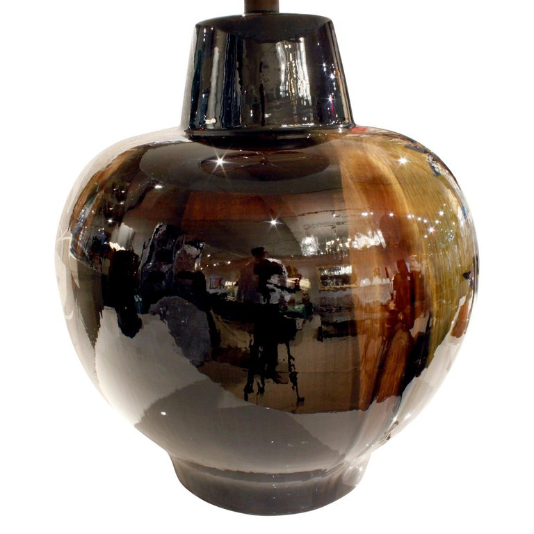 American Studio Made Ceramic Table Lamp with Graphic Flora and Fauna Silver Overlay 1970s For Sale