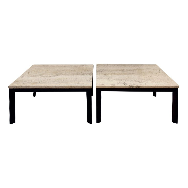 Pair of Angular Leg Coffee Tables with Travertine Tops, 1950s For Sale
