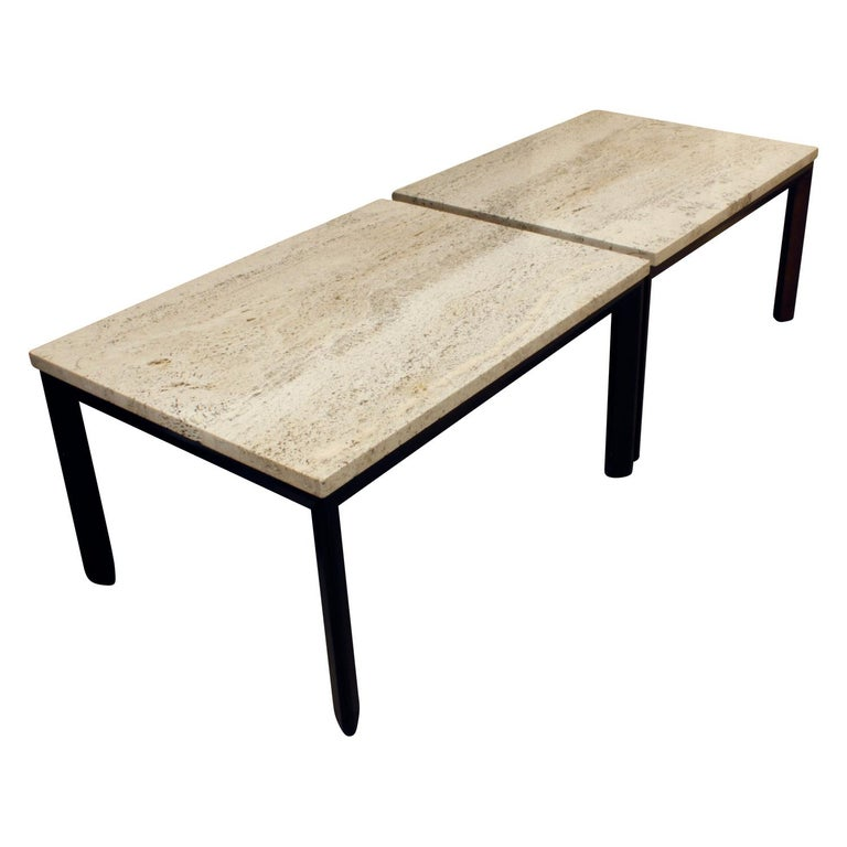 Mid-Century Modern Pair of Angular Leg Coffee Tables with Travertine Tops, 1950s For Sale
