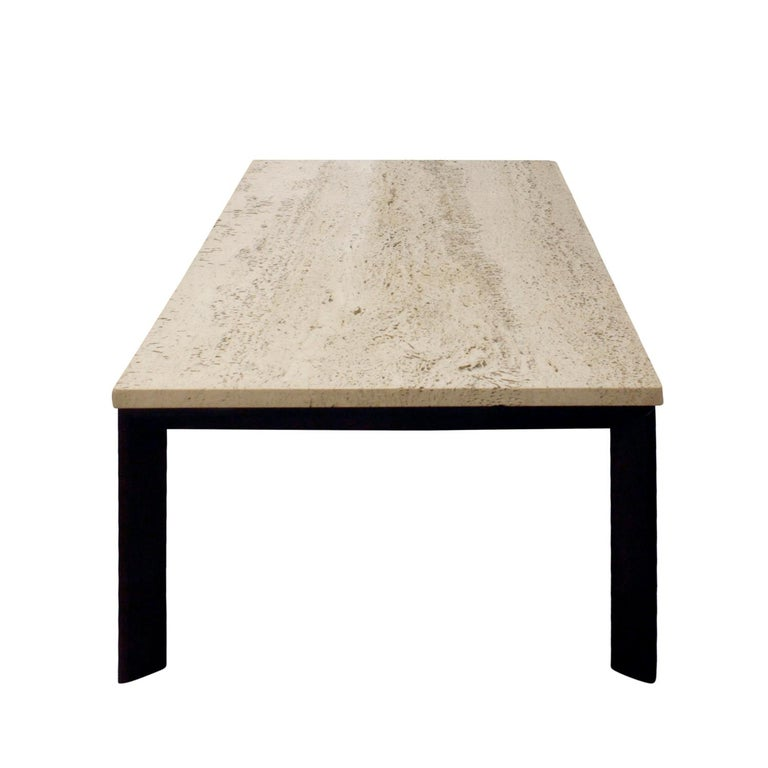 Hand-Crafted Pair of Angular Leg Coffee Tables with Travertine Tops, 1950s For Sale