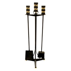 Donald Deskey Fireplace Tool Set in Wrought Iron and Brass, 1950s