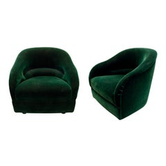 Ward Bennett Chic Pair of Pleated Back Lounge Chairs 1960s 'Signed'
