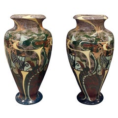 Brantjes Pair of Monumental Art Nouveau Hand Painted Ceramic Vases 1896 'Signed'